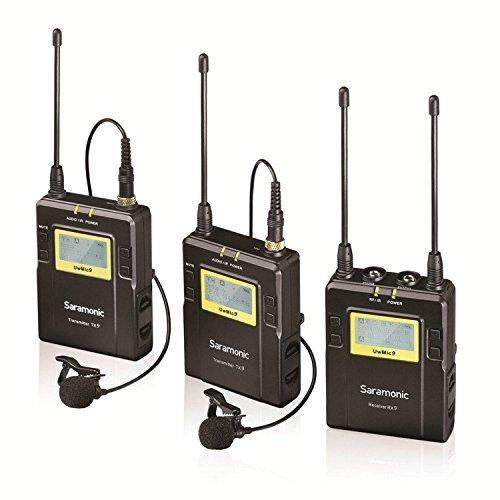 Saramonic UWMIC9 sistema microfono lavalier wireless UHF digitale 96 canali con 2 trasmettitori da tasca, ricevitore portatile, 2 microfoni lavalier, attacco a slitta, uscite XLR/3.5mm