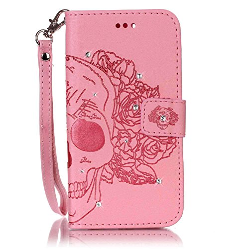 Galaxy S5 Neo Coque Rabat,Housse Samsung Galaxy S5 Bling Bling,Ekakashop Jolie Pourpre Dreamcatcher Strass étoiles Paillettes Brillant Design Bookstyle Portefeuille à Fermeture Wallet Shell de Protect Rose Crâne