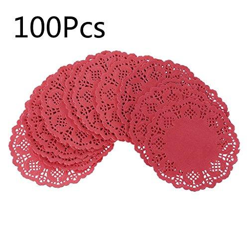 SimpleLife 100 stück Bunte Spitze Papier Deckchen Kuchen Verpackung Papier Pad Papiermatten Untersetzer Tischsets Hochzeit Veranstaltungen Party Tisch Geschenk Rot 8,9 cm (3,5 Zoll)