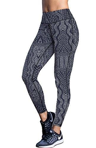 icyzone Damen Leggings Lang Sport Yoga Hose - Hohe Taille Training Tights Gym Pants Laufhose (S, Graphic Beads)