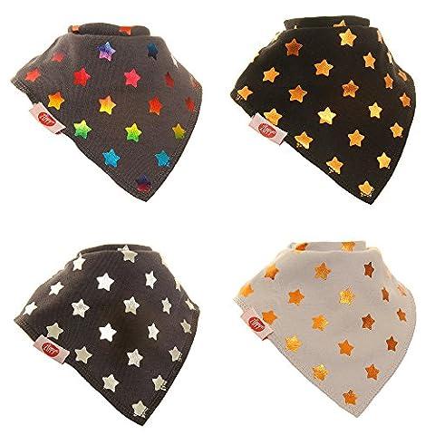 Zippy Bavoir Bandana pour bébé et tout-petit-Absorbant 100% coton dribbler bavoirs avant avec sangles réglables (4Lot de 4Coffret cadeau) métallique Paillettes étoiles