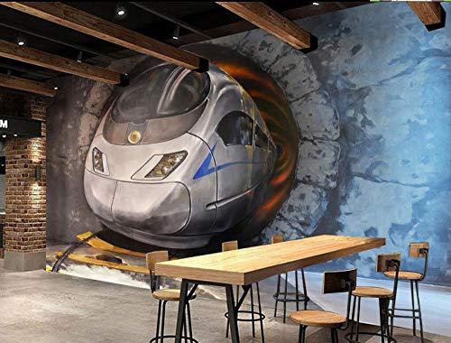 Yosot Benutzerdefinierte Große Persönlichkeit 3D Tapete 3D Stereo High-Speed Track Zug Wandmalerei Fototapete-140cmx100cm