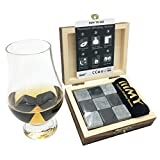 iiiMY Whisky Stones Gift Set of 9 Natural Soapstone and Granite Chilling Rocks