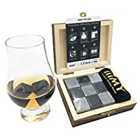 iiiMY Whisky Stones Gift Set of 9 Natural Soapstone and Granite Chilling Rocks with Sty...