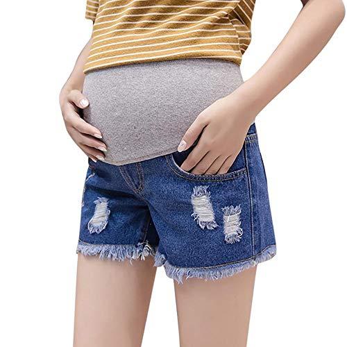 Doublehero Umstandsjeans Cargoshorts Kurze Umstandsshorts Maternity Shorts Umstandsmode Damen Hose Umstandshosen Loch Skinny Hohe Taille Mode Quaste Freizeithose Schwangerschaftshose (XL, Blau) -