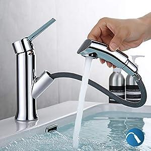 EXECART Wasserhahn für Bad mit Amusziehbarer Brause, Waschtischarmatur Hoch Mischbatterie Waschtischmischer Bad Waschbecken und Küche