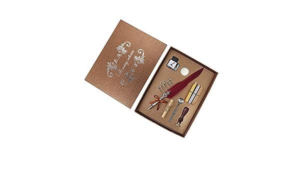 Stylo plume de luxe R/étro plume plume plume m/étal stylo /écriture kit dencre /écrit mill/ésime plume avec bouteille dencre sceau cacheter cire cuill/ère costume encreur pour d/écoration cadeau /étudiant P