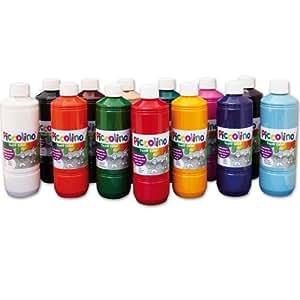 Encre, Peinture textile 13x 500ml - PICCOLINO peinture tissu, assortiment de 13 flacons 500ml
