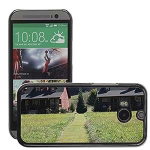 Bild Hart Handy Schwarz Schutz Case Cover Schale Etui // M00310711 Log Cabin Meadow Mountain Cabin // HTC One M8
