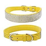 Balock Schuhe Pet Puppy Dog Kragen,Einstellbare Leder Niet Halsband,Spiked Studded Welpen-Hundehalsband-Halsband,für Mittelgroße Hunde (Gelb, XXS)