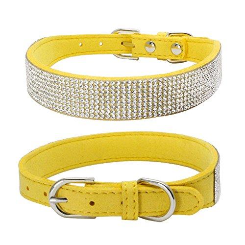 Balock Schuhe Pet Puppy Dog Kragen,Einstellbare Leder Niet Halsband,Spiked Studded Welpen-Hundehalsband-Halsband,für Mittelgroße Hunde (Gelb, XXL) -