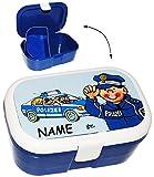 alles-meine.de GmbH Lunchbox / Brotdose -  Polizei Auto & Polizist  - Incl. Name - mit Extra Ein..