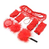 Sex Toys Set Sm BDSM Bondage Private Couple Sexy Lace Adult Games Bundle Handcuffs Anklet Feather Fan Lace Sexy Underwear Chest Stickers Charm Toys (Red)