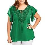 OVERDOSE Damen Mode Casual Chiffon Plus Size Curve Appeal Spitze V-Ausschnitt T-Shirt Bluse Kurze Fledermaus Ärmel Sommer Tops Tees Oberteile(Grün,EU-52/CN-4XL)