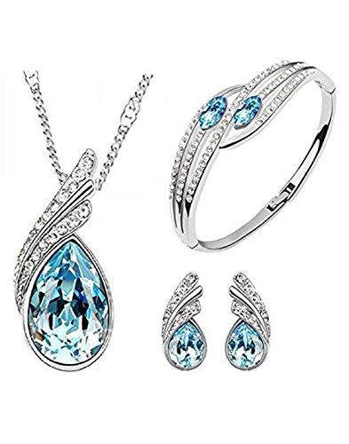 Karatcart combo of Trendy Platinum Plated Blue Elegant Austrian Crystal Pendant Set and Bracelet For Women