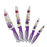 5 Piezas de acero del cuchillo de acero con el cuchillo de la caja, Kissal cuchillo de cocina con hermoso imprimió Flores creativa vida maravillosa cocina - Púrpura