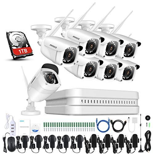 ANNKE 8CH Wireless Überwachungskamera System Set mit 1TB Festplatte Wifi HDMI NVR mit 8 X 1080P 2.0MP WLAN Outdoor Außen IP Überwachungskamera, 30M IR Nachtsicht Funk Überwachungsset (Wifi Video überwachungskamera)