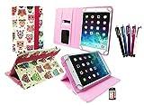 Emartbuy® BündelVon 5 Eingabestift + Universalbereich Mehrfarbig Eules Pattern Winkel Executive Folio Wallet Hülle mit Card Slots geeignet für I.onik TP 1200QC 7.85 Zoll Tablet