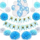 NextDeko Happy Birthday Geburtstagsdeko Blau Weiß - Hochwertige Geburtstag Deko Set Jungen Männer - Kindergeburtstag Party Dekoration Zubehör Blue - Girlande Pompoms Geperlte Ballons