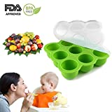 Baby Silicone Food Storage Tinabless BPA Free & FDA Approved Baby Food Freezer Tray with Clip-On Silicone Lid, Homemade Food Storage (Green)