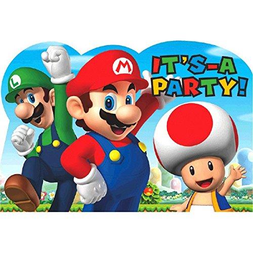Amscan 491554Einladungskarten, Motiv Super Mario (Mario Dress Up)