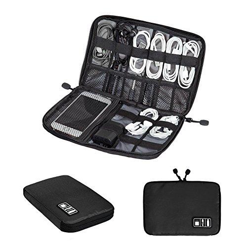 Zuoao Universale Organizzatore Elettronica Accessori Custodia da Viaggio per Cavi Hard Disk Chiavette USB Borsa Impermeabile(Nero)