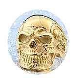 Bishilin Schmuck Titan Ring Herren Punk Schädel Totenkopf Partnerring Gothic Ring Gold Größe 70 (22.3)