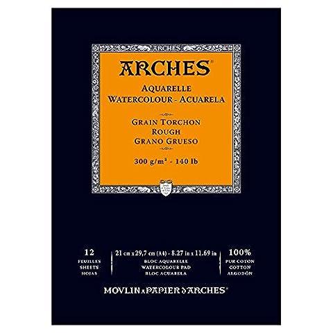 Arches Bloc aquarelle grain torchon A4 300 g 12 pages Naturel Blanc