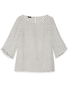 Oltre: Blusa donna in tessuto crêpe a pois con scollatura a barchetta. (Italian size)