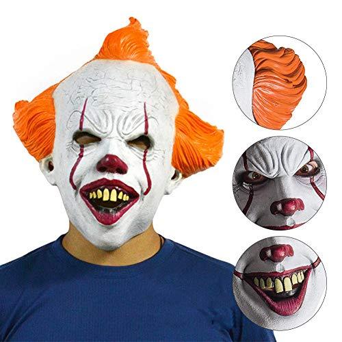 zhaokai Horror Clown Maske Latex Maske Pennywise Kostüm für Fasching Karneval Halloween Kostüm für Erwachsene
