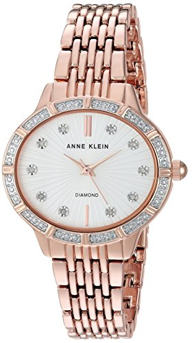 Anne Klein Women's AK/2782SVRG Diamond-Accented Rose Gold-Tone Bracelet Watch