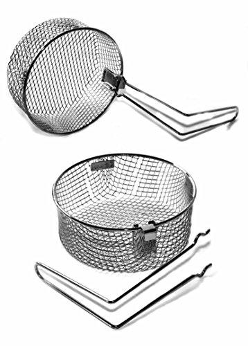 takestop® Korb Korb Netz aus Stahl 18cm rund Bratpfanne für Fritteuse mit Griff für Bratpfanne Kartoffel Chips Zwiebeln Basket Zubehör Zubehör Fritteuse Stahl-korb