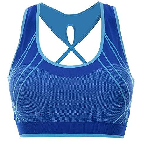 Komfort Damen Push Up Ohne Buegel Sport BH Bustier Stretch Sports Oberteil 20908, Farbe:Blau;Größe:M / L