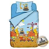 Aminata Kids süße Kinderbettwäsche Baustelle mit Bagger-Motiv 100x135 cm + 40 x 60 cm Jungen, Jungs aus Baumwolle mit Reißverschluss, hell-blau, unsere Baby-Kinder-Bettwäsche-Set, Betonmischer-Motiv