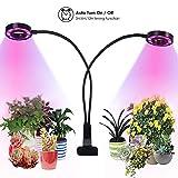 2019 Aggiornamento LED Grow Light plant Lamp per piante da interno, Lampada da coltivazione a crescita da 20W, lampada a doppia testa con timer 3/6/12H, spettro rosso/blu/bianco per serra