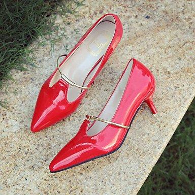 Talons Femme Ressort Comfort PU Extérieur Stiletto Talon Noir Rose Rouge Gris Marcher Black