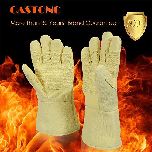 Saldatura guanti, guanti Maso Castong 500° isolante resistente al calore resistenza industriale anti-caldo resistenza alle alte temperature ignifugo guanti (1coppia) -argento