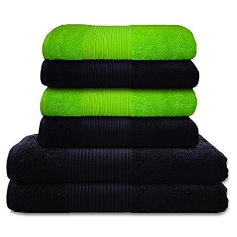Liness 6 tlg Handtücher Set grün schwarz anthrazit 4 Handtücher 50x100 cm 2 x Badetuch Duschtuch 70x140 cm Qualität 100% Baumwolle Frottee Handtuch-Set grün schwarz anthrazit