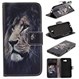 Samsung Galaxy J5 Prime Case Cover [Anti-Scratch][Waterproof], Cozy Hut Practical Fashionable Creative Retro Patterns PU Folio Leather Wallet Designer Flip Magnetic with [Wrist Strap] and [Card Holder Slot] Shock Absorber Full Body Protection Holster Case Cover Skin Shell for Samsung Galaxy On5 (2016)/ J5 Primeinch - Lion king