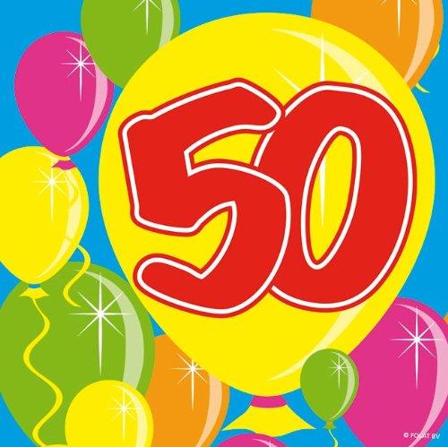 tstag Party-Deko 20 Stück bunt 25x25cm Einheitsgröße (50 Geburtstag-servietten)