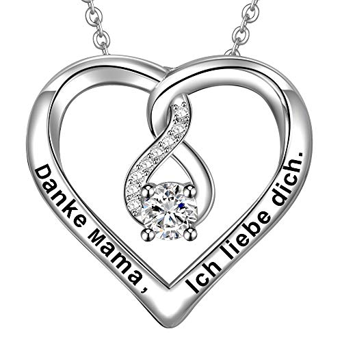 LOVORDS Damen Halskette Gravur 925 Sterling Silber Herz Unendlichkeits Kette  Anhänger Mutter Geschenk für Mama f54dcef674