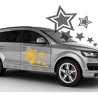 Autoaufkleber Autotattoo 6 Sterne Stars Schwarz MITTEL