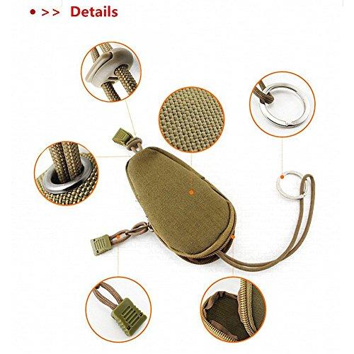 OneTigris Nylon Mini Edc Outdoor Borsa da viaggio portatile per monete a portafoglio Change Key Pouch con interno acciaio chiave anello Black Coyote Brown