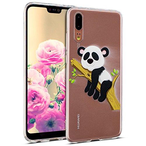 Uposao Kompatibel mit Hülle Huawei P20 Handyhüllen Transparent Weiche Silikon Durchsichtig TPU Kratzfest Schutzhülle Crystal Clear Ultra Dünn Silikonhülle Handytasche,Lustig Panda Baum (Baum Monitor)