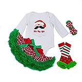 Decstore Bambine Mio Primo Natale Costume Partito Vestito tutu outfits Set 4PCS(Santa Claus L)