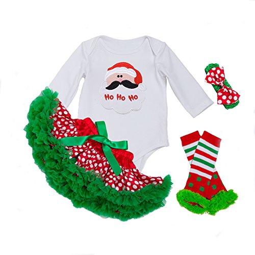 DecStore Baby Girls Mein erster Weihnachtskostüm Party Kleid Tutu Kleidung 4PCS Set(Santa Claus ()