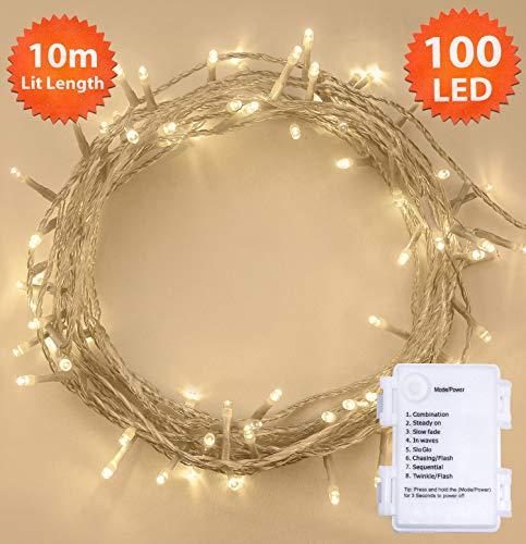 Luces hadas 100 LED 10 m Temporizador aire libre Dormitorio
