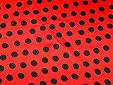 Marienkäfer Spot Print Satin Kleid Stoff rot &