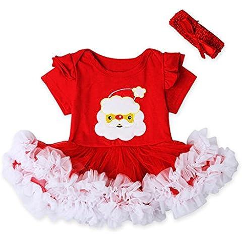 Tefamore 1 Set Bebé Recién Nacido Cordón Navidad Romper vestido princesa Con ropa de Hairband