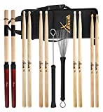 XDrum Drumstick Starter Set (Sticks, 5A Nylon, 5B Wood und Nylon, 7A Wood, Jazzbesen, Rods, inkl. Drumsticktasche)
